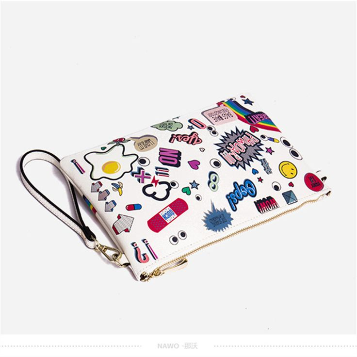 Fashionable Leather Envelope Clutch with Cartoon Printing – Crazy and Hip!