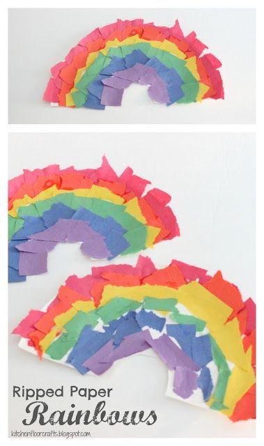 Kitchen Floor Crafts: Ripped Paper Rainbows