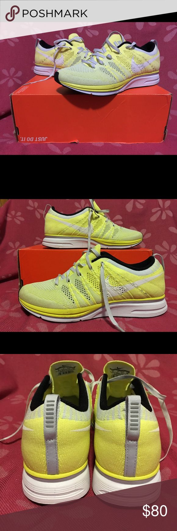 Nike Flyknit Trainer+ Electric Yellow Men's size 8.5 Women's size 10, Brand new, never been worn. Comes with original white laces and partial box (top flap over ripped off). Nike Shoes Sneakers