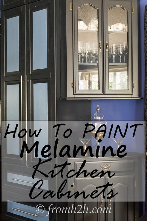 How To Paint Melamine Kitchen Cabinets | Do you want to paint your kitchen cabinets but are scared that it won't turn out? Learn 2 different tried-and-tested ways to do it...and they both look great!