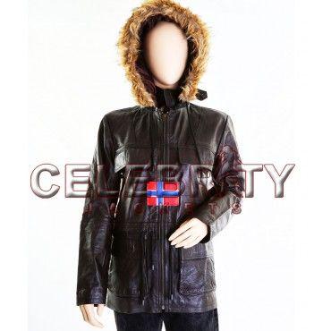 Swedish Bomber Ladies Parka Bomber Leather Jacket with Hoodie - £109.99