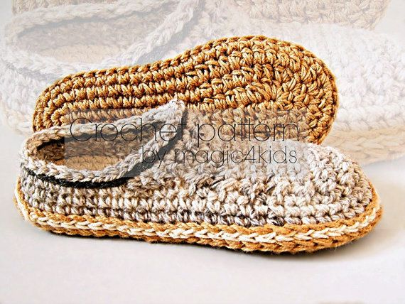 Crochet slippers pattern men loafers with rope solessoles