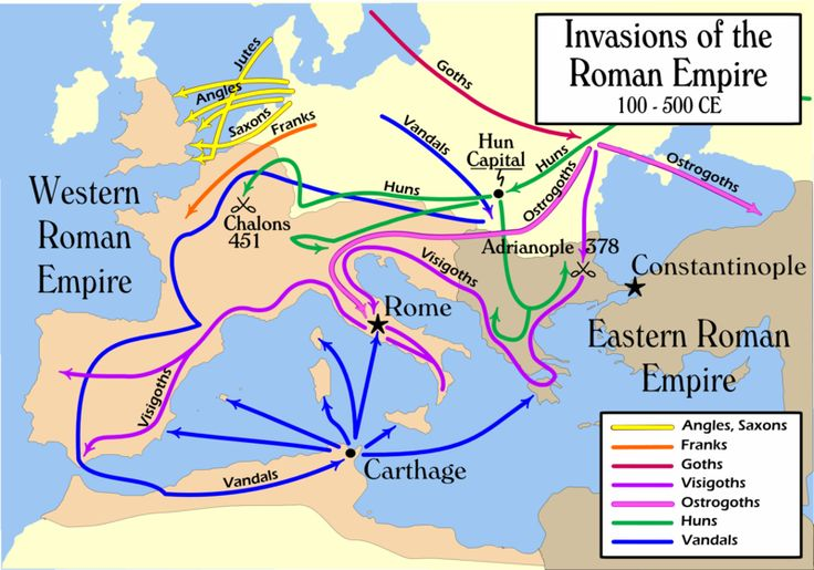 2nd to 5th Century Simplified Migration Patterns - The Roman Empire withdrew from Britain between 383 and 410 AD. and an Anglo-Saxon kingdom was established.  There was a general movement of Germanic peoples around Europe between the years 300 and 700, known as the Migration period (also called the Barbarian Invasions or Völkerwanderung). There were also migrations of Britons to the Armorican peninsula (Brittany and Normandy in modern day France).