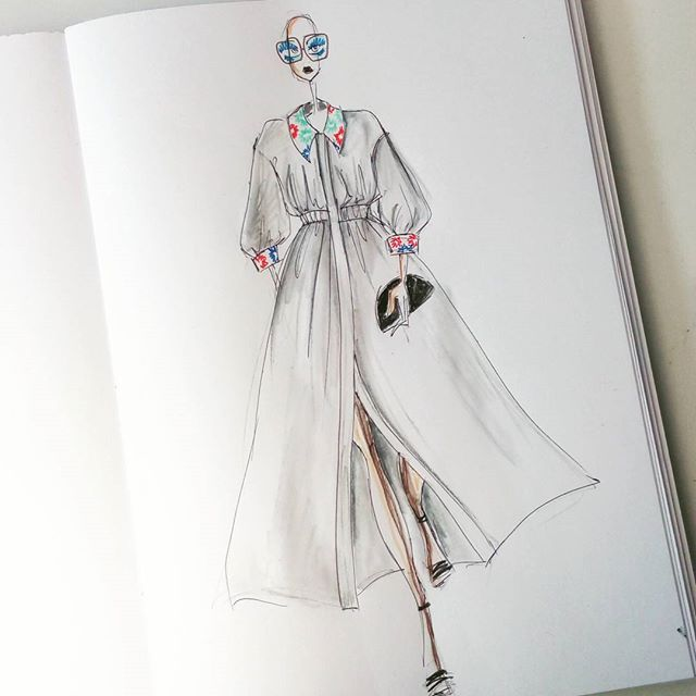 Niekto si v lete oblečie bielu dlhú  koselovu blúzku a la šaty s vysivanym golierikom a rukávmi :) #fashionillustration #illustration #fashion #art #drawing #fashiondesign #sketch #fashionsketch #watercolor #fashiondrawing #fashionillustrator #design #fashionart #illustrator #style #instaart #artwork #sketchbook #painting #dress #instafashion #sketching #fashiondesigner #fashionista #watercolour #inspiration #sketches #couture #fashionstyle #fashionblog