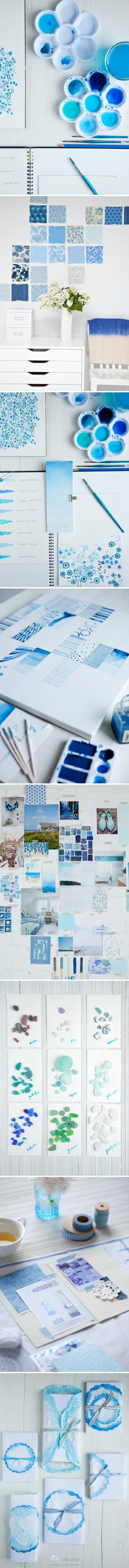 这个夏日,让人很难不去想这个经典蓝色和明亮白色的组合。浸染的小桌布,群青、靛蓝和淡蓝色……也许大家有更多的玩法,水彩、纸张、浸染,不妨利用这三天假期尝试下。