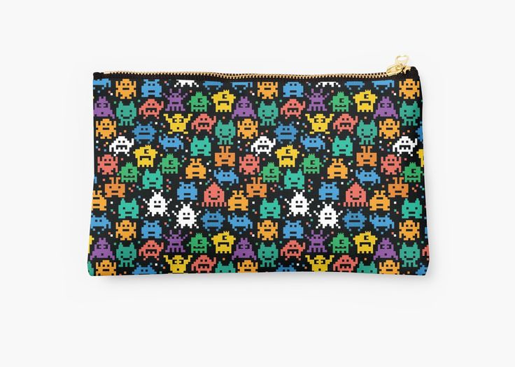 Pixelated Emoji Monster Pattern Illustration by Gordon White | Emoji Monster Studio Pouch Available @redbubble --------------------------- #redbubble #emoji #emoticon #smiley #faces #cute #addorable #pattern #studiopouch #pouch #bag