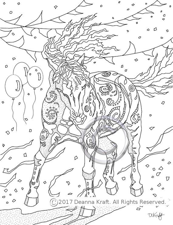 Celebrate, Stallion, Horse, Horses, Coloring Page, Equine, Horse Coloring, Horse Art, Coloring for Kids