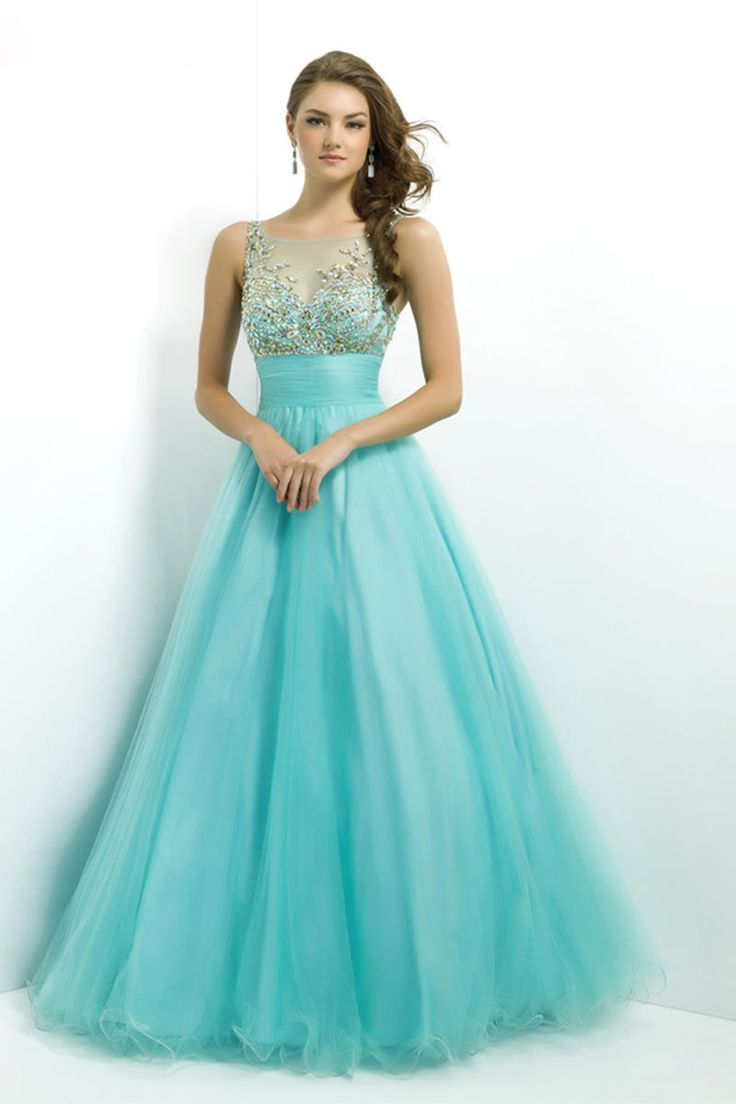 Ball gown prom dresses 2014 - 2014 Prom Dress Scoop Neckline Mesh Illusion Beaded Bodice Tulle