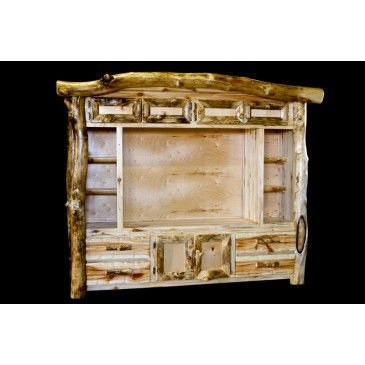 PERFECT for the cabin !!! www.Signaturelogf … Rustic Log Entertainment Center #WoodWorking