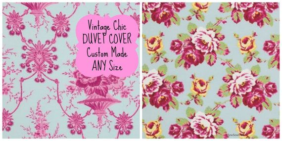 CHIC Duvet Cover Choose your size Toddler Crib Dorm Twin Full Queen King - Custom Made Bedding CHOOSE your Fabric -Vintage Roses asian flair...