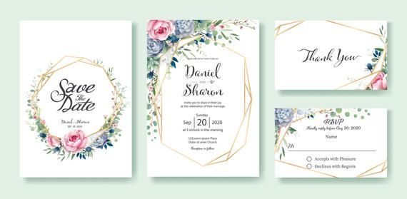 Wedding Printable Set Wedding Invitation Rsvp Save The Date And Thank You All In One Wedding Invitation Cards Rsvp Wedding Cards Free Wedding Invitations