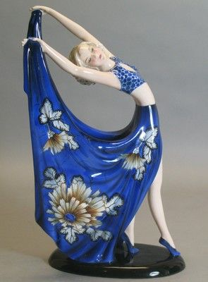 "Fabulous 14 5"" Goldscheider Art Deco Figurine Dakon RARE Form Color 