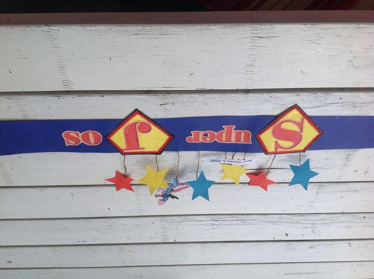 Superman Muts gemaakt voor afscheid meester Jos.