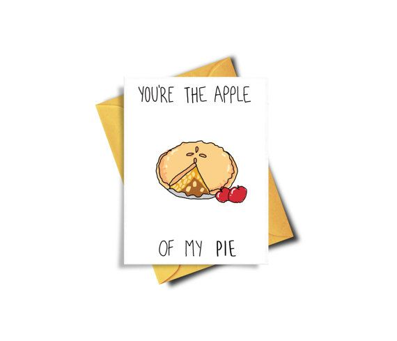 You're The Apple Of My Pie Funny Printable Card Apple by BAECKANN