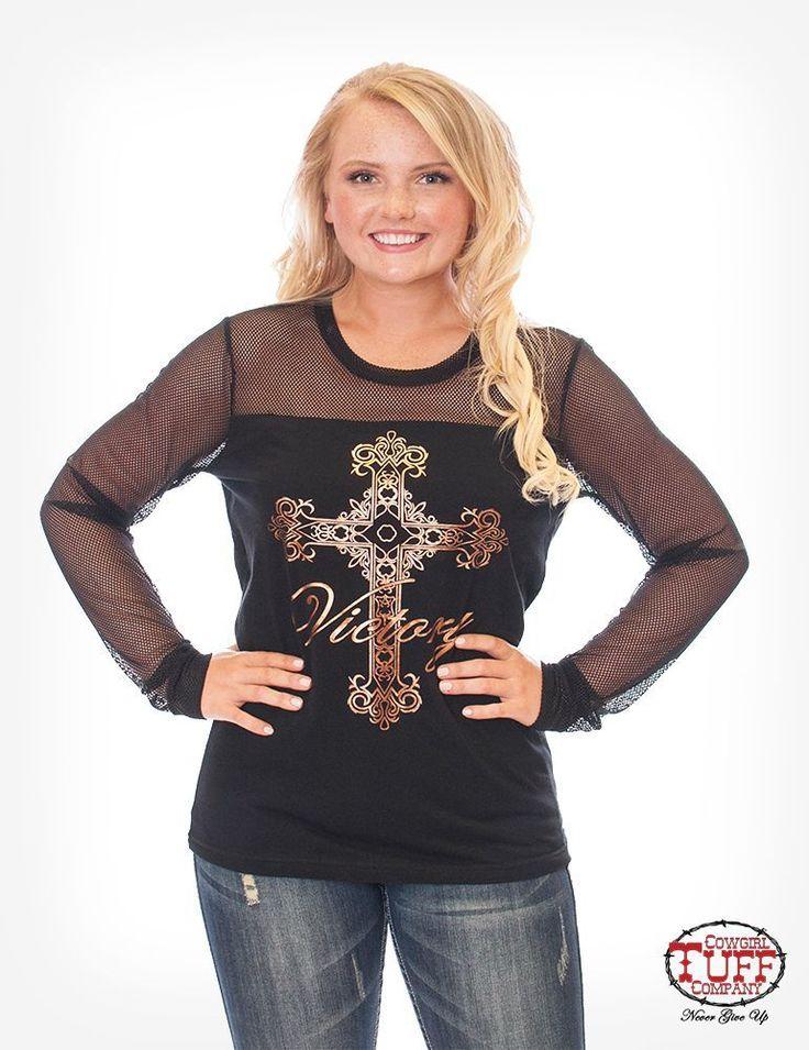 Black copper cowgirl tuff cross tee