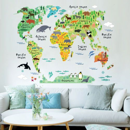 Animal World Map Wall Art Stickers Nursery Kids Decor Removable Vinyl Decal