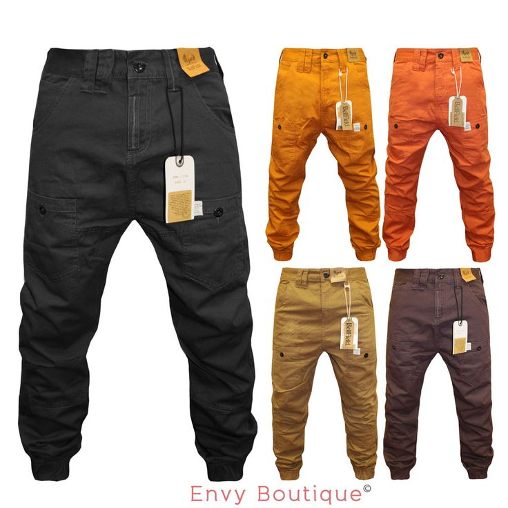 NEW MENS BELLFIELD CUFFED DROP CROTCH CARGO COMBAT CHINO JEANS 28-36 #Bellfield #ChinoCargoCombat