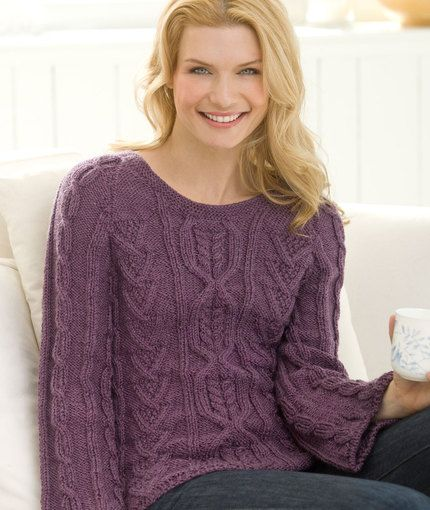 New Aran Sweater - Red Heart cabled knit sweater pattern