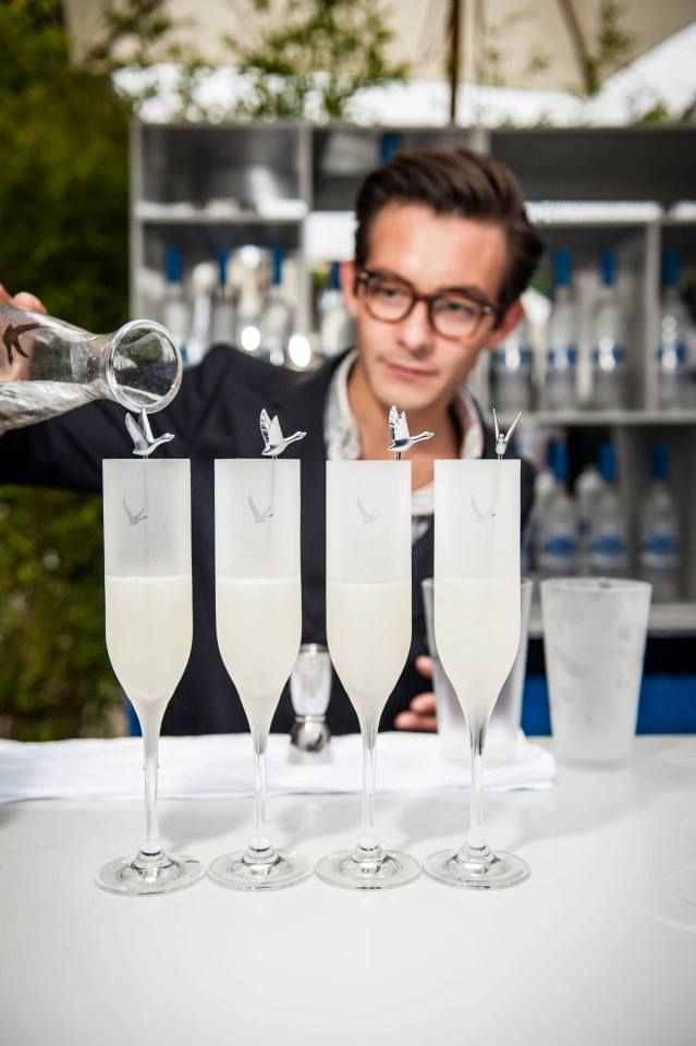 GREY GOOSE Le Fizz, served with the signature goose stirrer. Achieve the extraordinary. #FlyBeyond