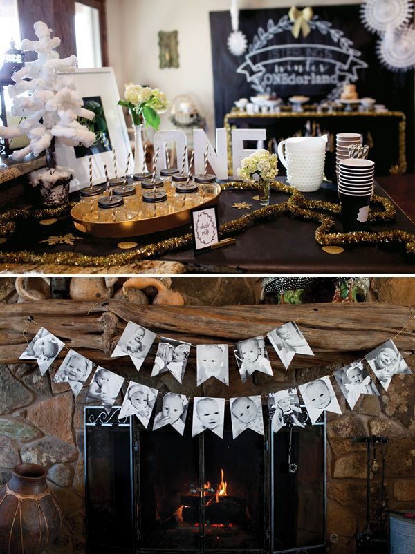 Black and White photo banner - Warm & Toasty Winter ONEderland First Birthday Party