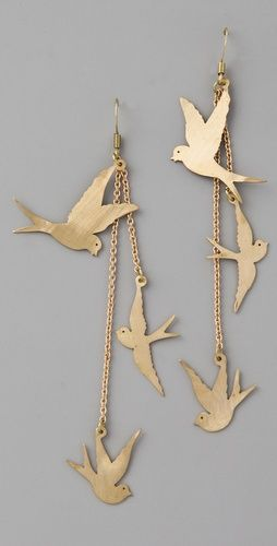 Love birds in Jewellery and these earrings would certainly make a statement