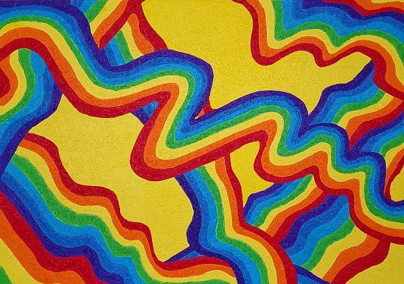 W 70#100 Oil, Canvas #artwork #art #olgakeles #w #positivismart #postitivism #colorful #modern #contemporary #rainbow #different #new #juicy