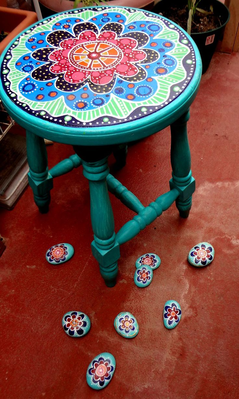 banquito de madera y pintura acrilica arte pinterest