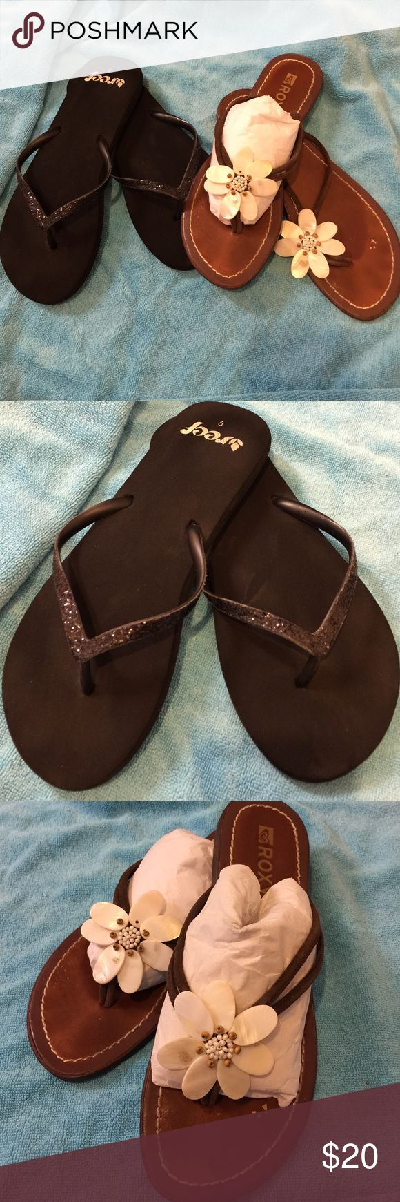 Bundle Roxy & Reef slippers size 9, from paradise Anything you see on these slippers (flip flops), is from Hawaii, my home away from home. Both in really good condition with a lot of aloha left in them🌺 Shoes