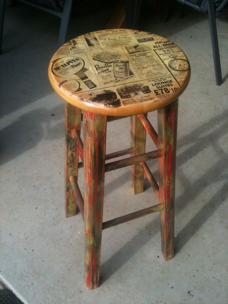 Painted and decoupaged stool