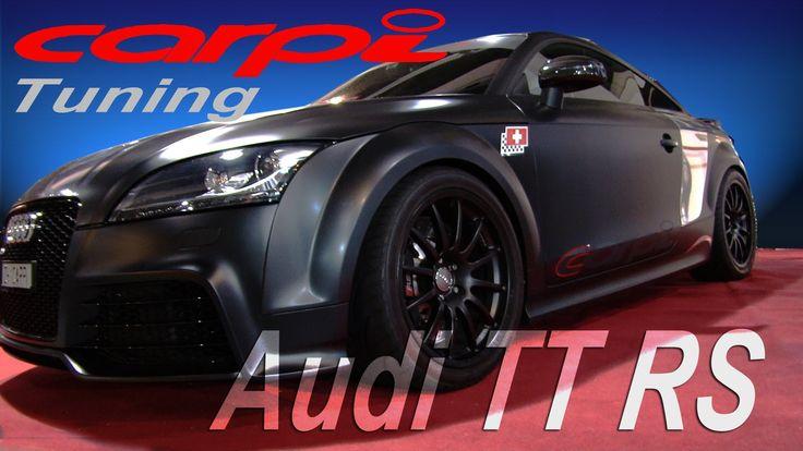 Carpi Tuning hat sich den Audi TT RS vorgenommen. Auf der Auto Zürich Car Show konnten wir den überarbeiteten Audi TT vor die Linse bekommen. Mattschwarz & Chrom foliert, eine verbesserte Bremsanlage, KW-Clubsport Gewindefahrwerk und 18 Zoll Dynamics Felgen. Die Motorleistung liegt bei 400PS. http://motorsandgirls.com/2013/11/12/audi-tt-rs-carpi-tuning/