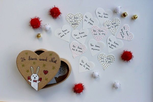 Calendrier de l'Avent des bisous : une activité à préparer avec les enfants ! #calendrier #avent #calendrieravent #diy #faitmaison #coeur #pompon #bisous