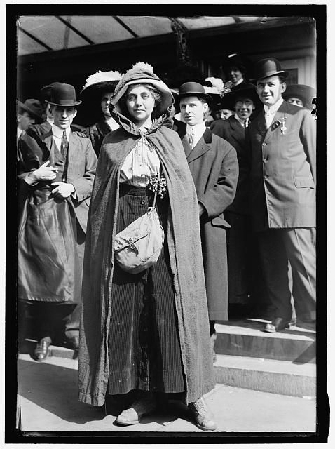 Phoebe Hawn was one of fourteen women who walked 295 miles from New York City to Washington DC in 1913 as part of a suffrage demonstration. The hike to DC began on February 12, 1913, Lincoln's birthday.  Hundreds of people joined the march at points along the way.  The fourteen women who walked the entire route and the two who joined the march in Philadelphia wore long brown capes as shown in the photo above.