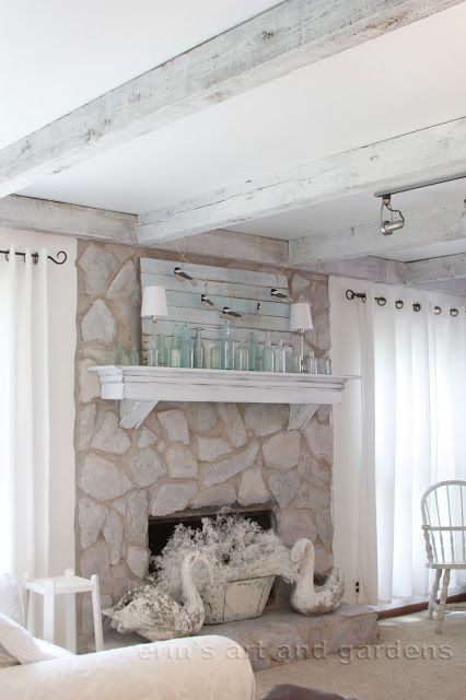erin's art and gardens: chalk painted 1970's stone fireplace