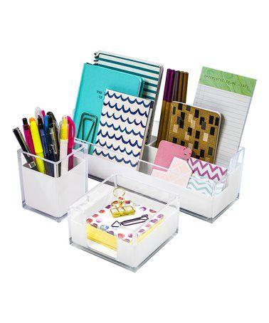 Look at this #zulilyfind! Three-Piece Acrylic Desk Organizer Set #zulilyfinds