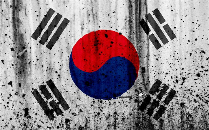 Download wallpapers South Korea flag, 4k, grunge, flag of South Korea, Asia, South Korea, national symbols, South Korea national flag