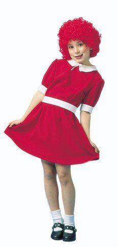 "Child's Red Orphan Costume (Size:Large 12-14) by Peter Alan. $39.99. Experience a rags-to-riches story of your own in this classic movie child costume! Whether your little girl is singing the well-known song ""Tomorrow"" from the musical or is pretend playing she is her favorite movie character that has been taken in by the rich Daddy Warbucks, this Little Red Orphan Child Costume will have your little girl looking just like the famous curly red-headed orphan gir..."