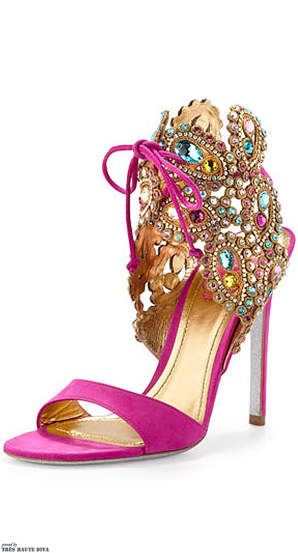 Festive pink multi colored strappy stilettos by Rene Caovilla.