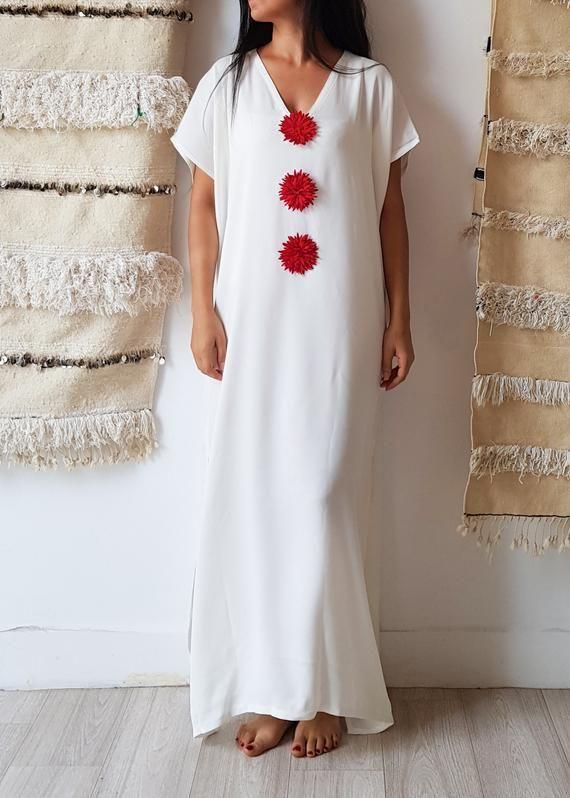 762a476cd682 Summer Kaftan Loose Maxi dress handmade Moroccan caftan Beachwear one size  flower kaftan fit all