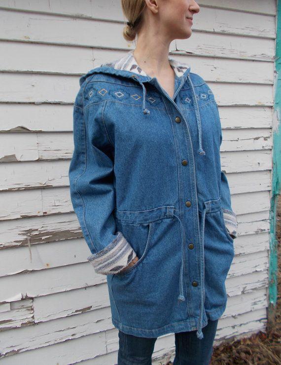 vintage denim anorak hooded jean jacket by clotheswhorse on Etsy