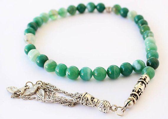 Green Agate Prayer Beads 33 Tasbih Tesbih by asteriascollection