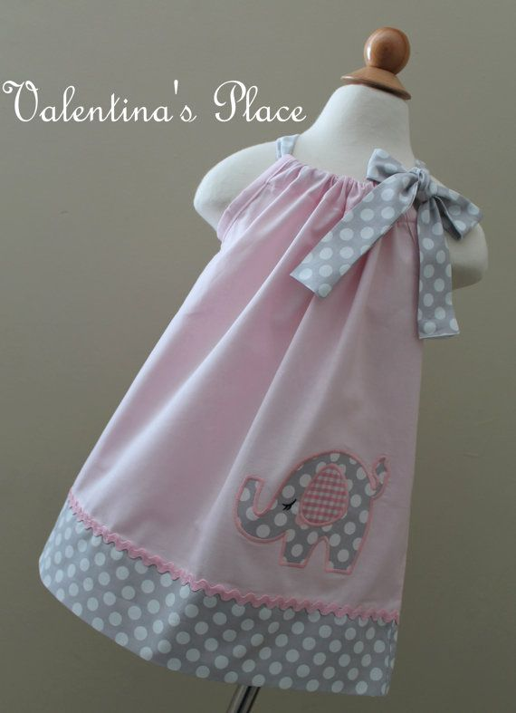 Beautiful Elephant in pink pillowcase dress. by Valentinasplace, $28.00