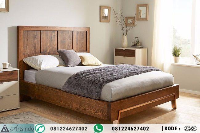 Tempat Tidur Kayu Jati Minimalis Modern