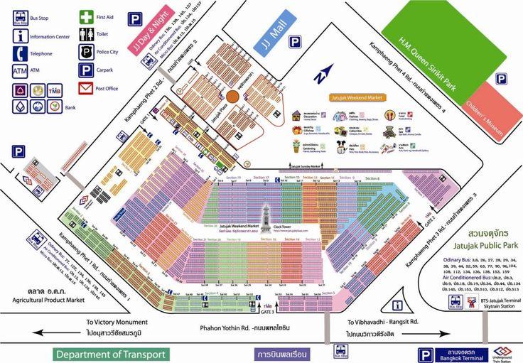 Chatchuchak Weekend Market Bangkok Karte Map