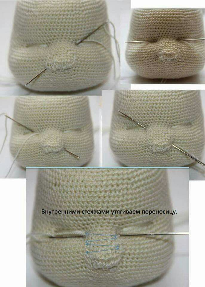 nose shaping for amigurumi crochet doll face