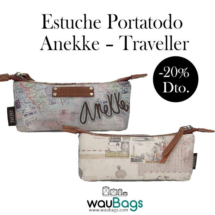 """Consigue el Estuche Portatodo Anekke de la colección """"Traveller"""", ahora por tan solo 14,32€!!  Con un compartimento principal, organizador interno y cierre de cremallera.  @waubags.com #anekke #estuche #portatodo #oferta #descuento #rebajas #waubags"""