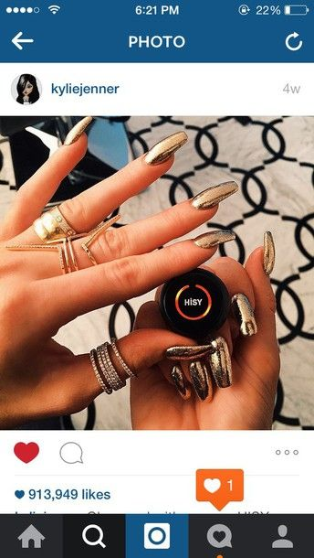nail polish kylie jenner ring metallic sparkle gold opi acrylic nails jewels
