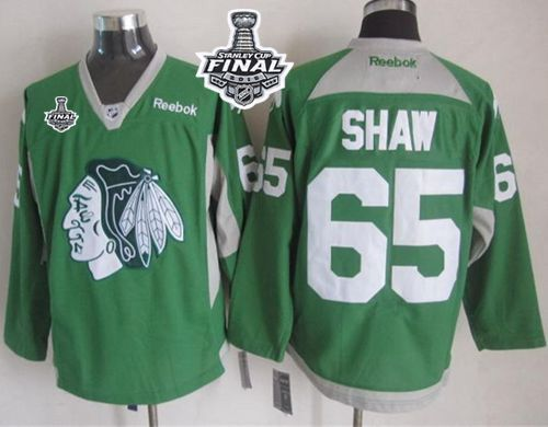 blackhawks 65 andrew shaw green practice 2015 stanley cup stitched nhl jersey
