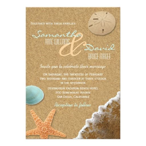 Sand And Shells Beach Wedding Invitation