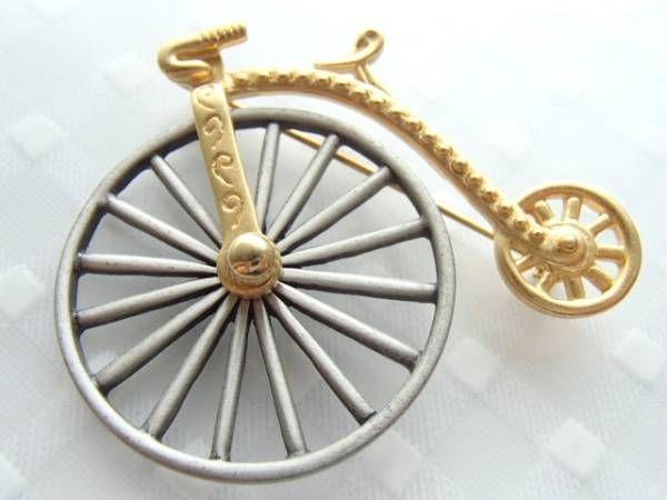 JJ 刻印 ブローチ 自転車 金色 ヴィンテージ ピン_画像3