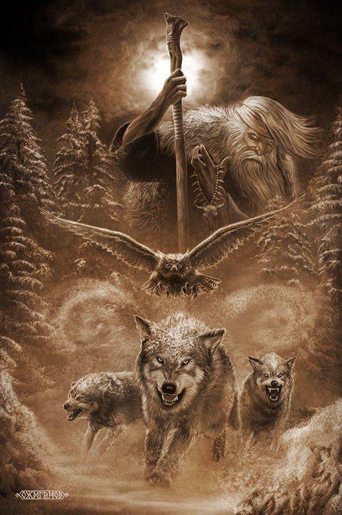 Odin Mit Seinen Gefahrten Raben U Wolfe